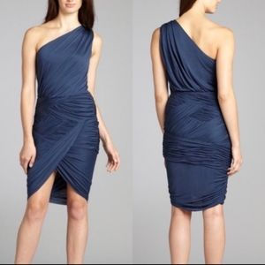 Halston Heritage Blue One Shoulder Wrap Dress